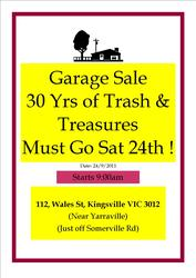 HUGE GARAGE SALE- SAT 24th