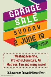 Garage Sale this Sunday 2nd June Ballarat East